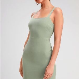 X- Small Lulus dress in olive green. NTW